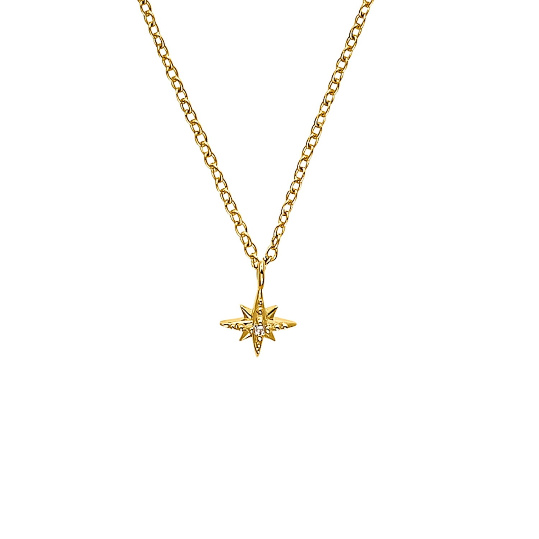 Kette mit Anhänger für Damen, Sterling Silber 925 vergoldet, Zirkonia   Stern