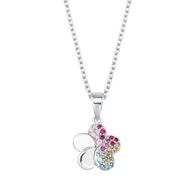 Kette mit Anhänger für Mädchen, Sterling Silber 925, Zirkonia Blume
