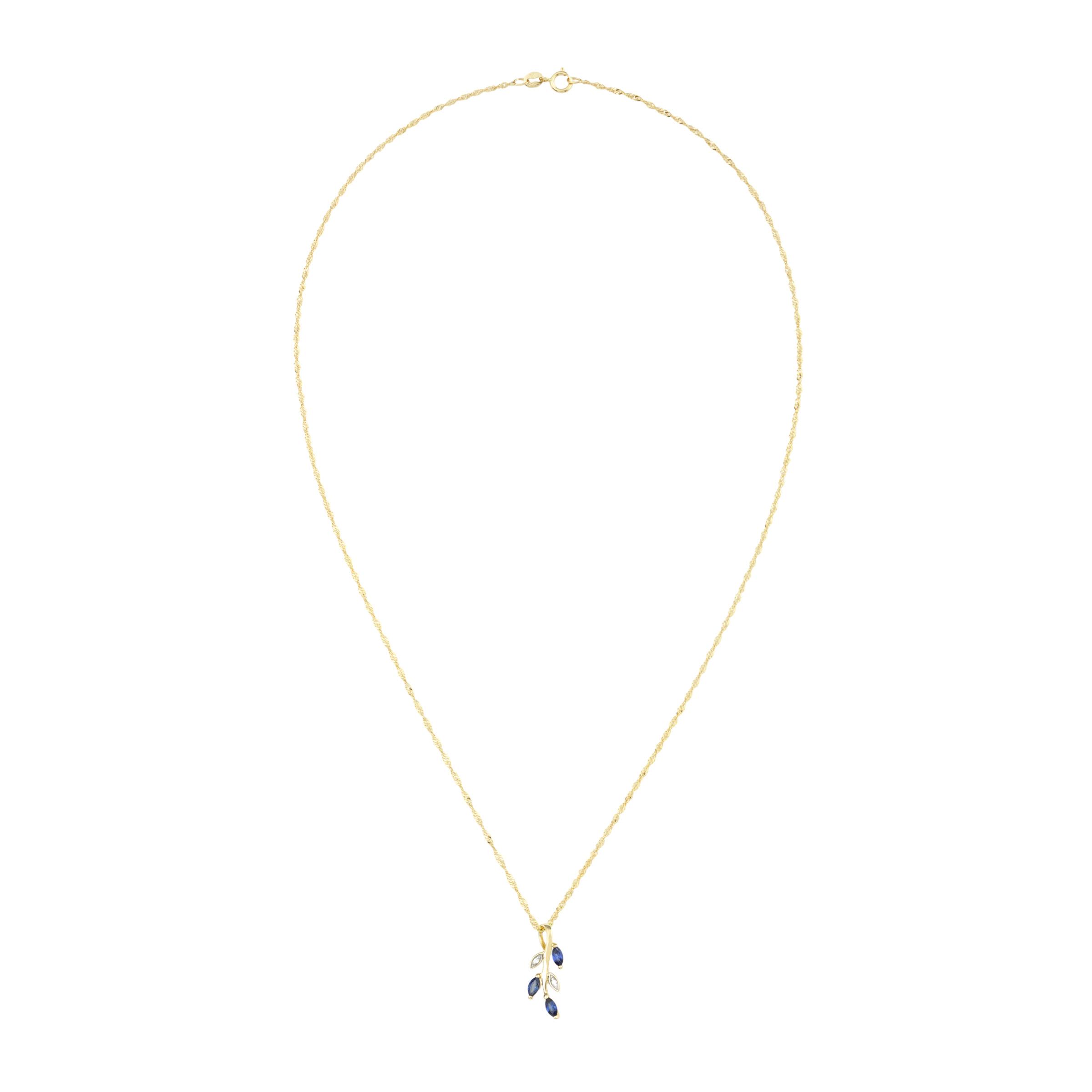 Kette mit Anhänger für Damen, Gold 375, Zirkonia Blatt