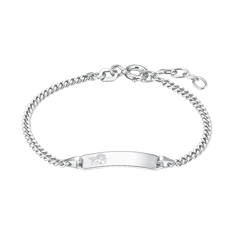 Identarmband Silber 925, rhodiniert Engel