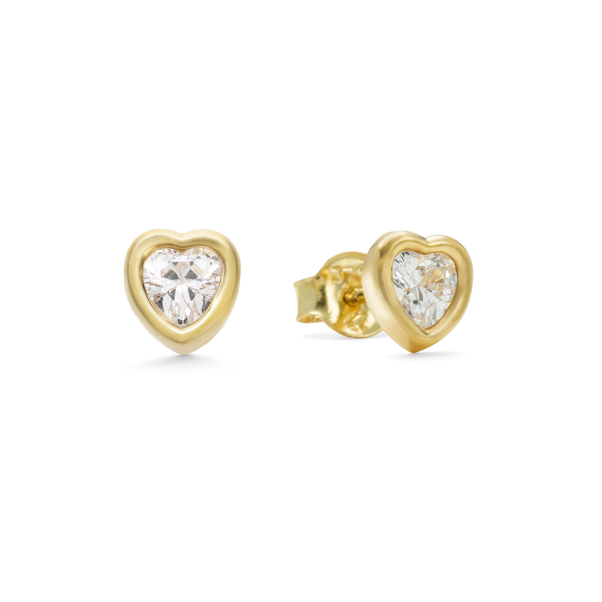Ohrstecker für Damen, Gold 375, Zirkonia Herz