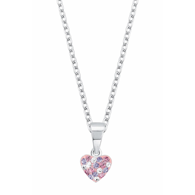 Kette mit Anhänger für Mädchen, Sterling Silber 925, Preciosa Steine Herz