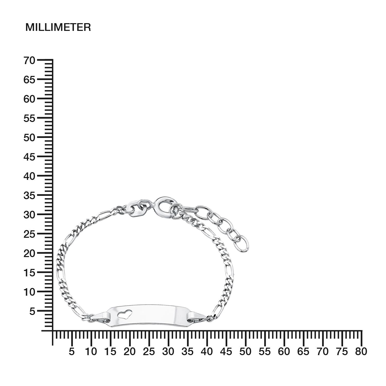 Armband für Mädchen  12+2 cm längenverstellbar gravierbar  Herz 925 Sterling Silber