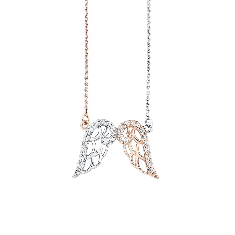 Kette mit Anhänger für Damen, Sterling Silber 925, Zirkonia Flügel