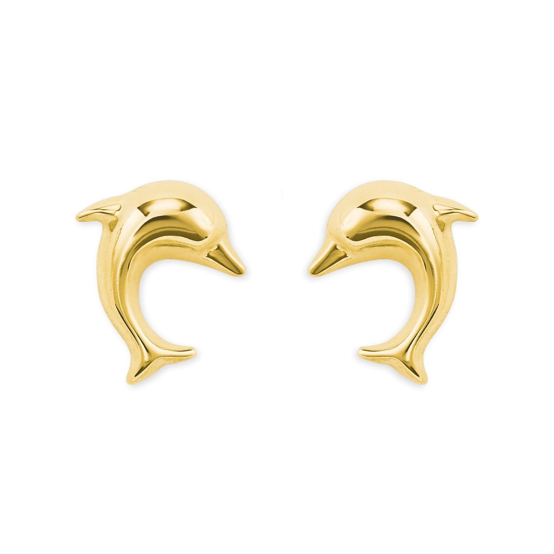 Ohrstecker für Damen, Gold 585, Delphin