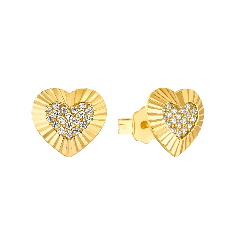Ohrstecker für Damen, Sterling Silber 925 vergoldet, Zirkonia | Herz