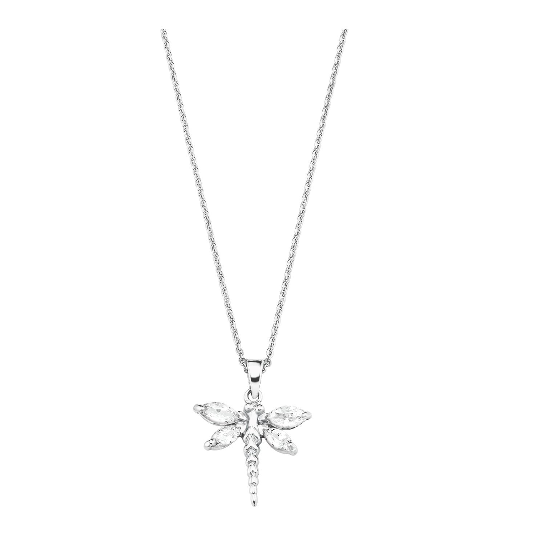 Kette mit Anhänger für Damen, Sterling Silber 925, Zirkonia Libelle