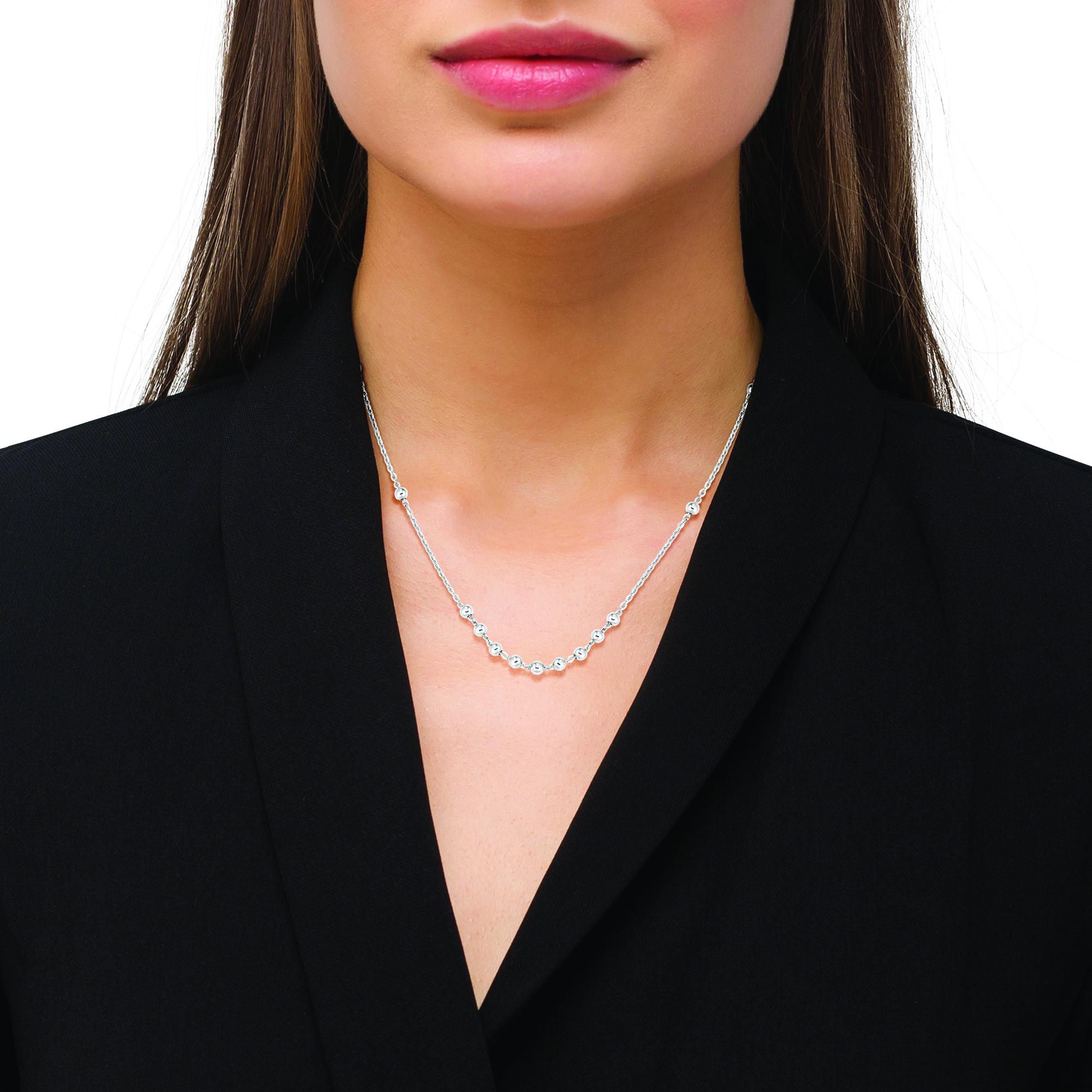 Halskette für Damen mit Kügelchen-Anhängern, glänzendes Silber 925