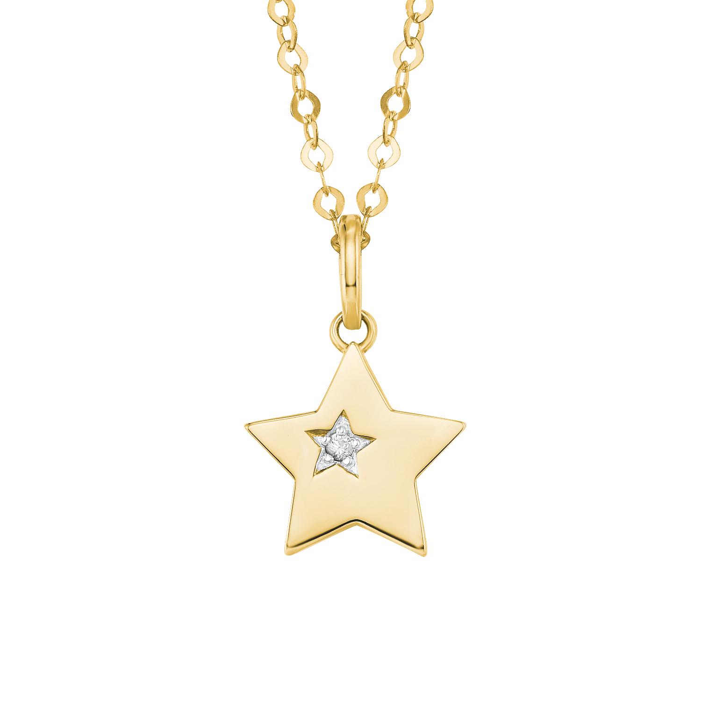 Kette mit Anhänger für Damen, Gold 585, Zirkonia Stern