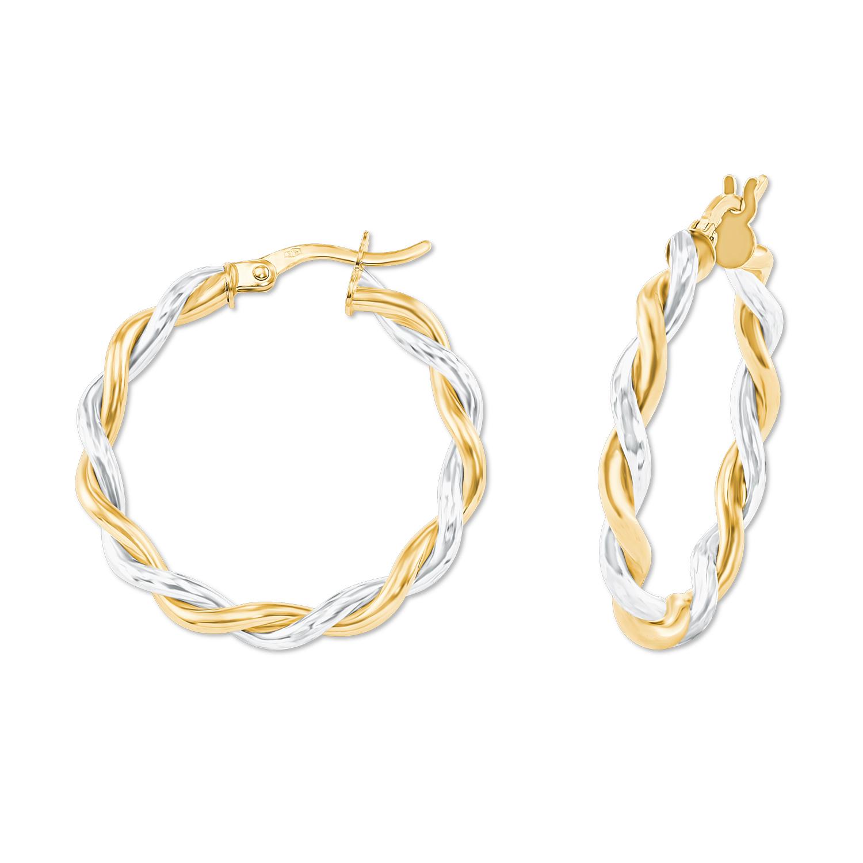 Creolen Gold 375/9 ct, teilrhodiniert