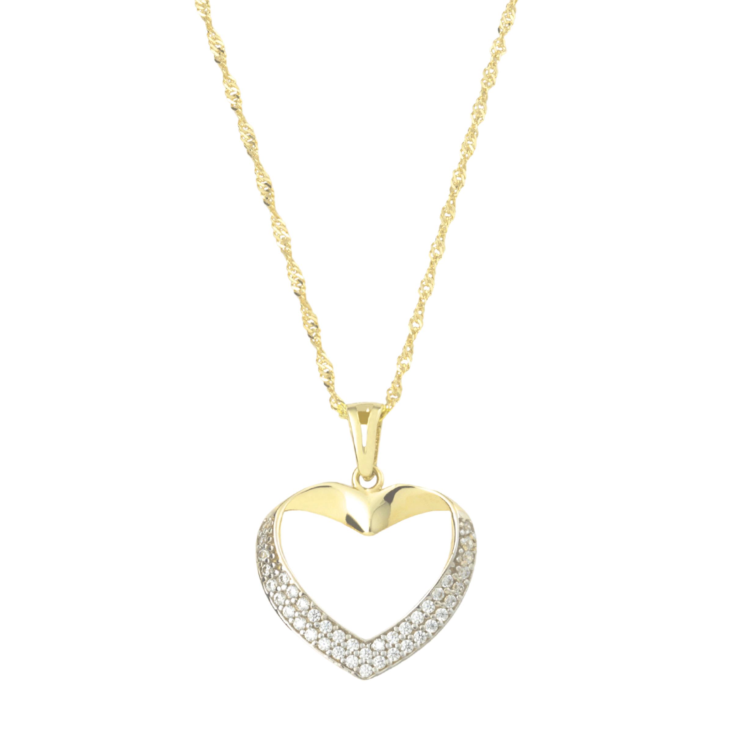 Kette mit Anhänger für Damen, Gold 375 Herz, Zirkonia
