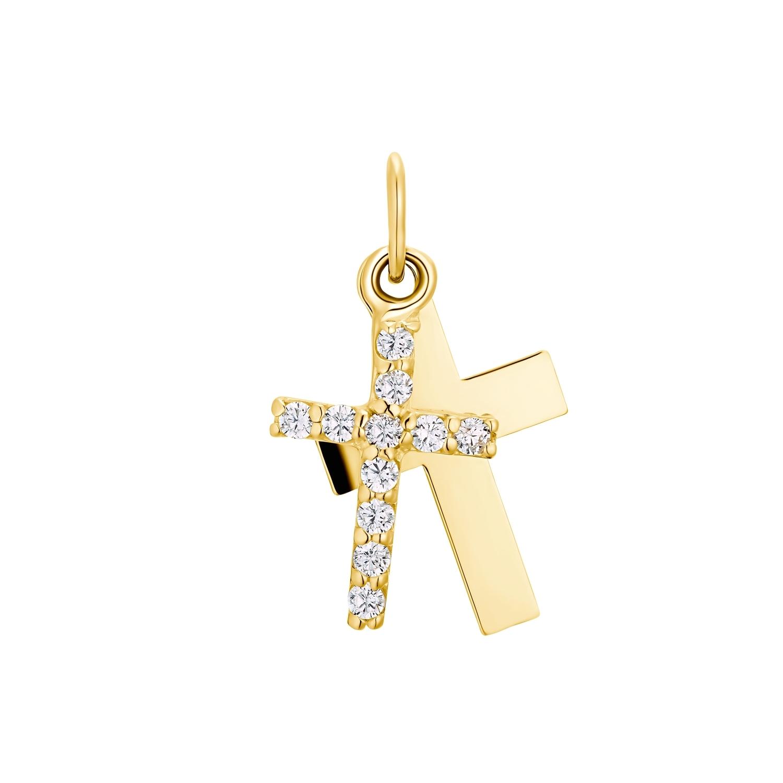 Motivanhänger für Mädchen, 375 Gold Zirkonia | Kreuz