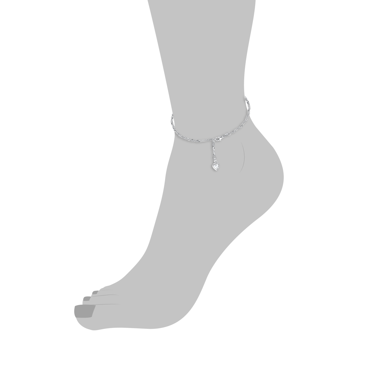 Fußkette für Damen, Sterling Silber 925, Zirkonia Herz