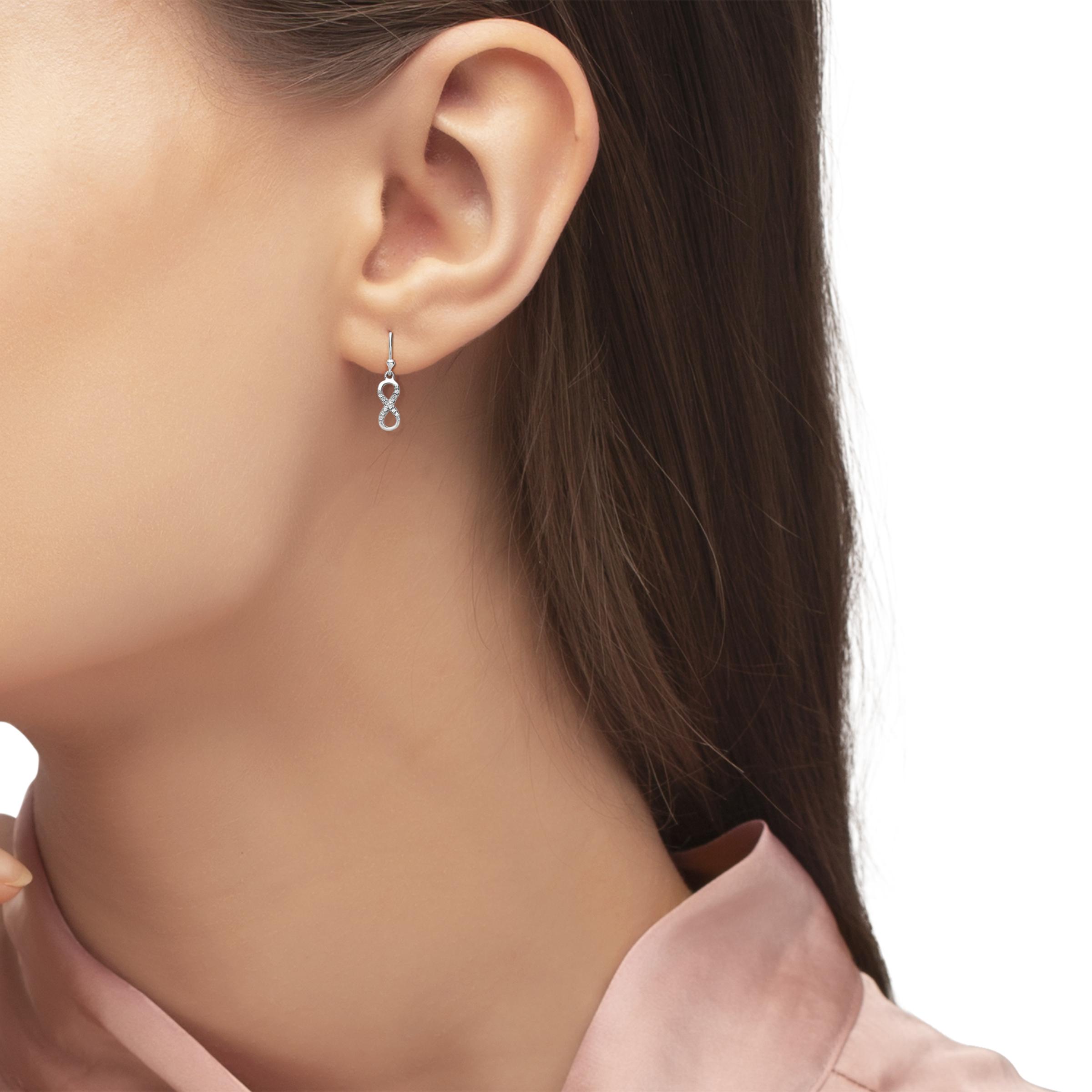 Ohrring für Damen Infinity Unendlichkeitszeichen 925 Sterling Silber rhodiniert Zirkonia weiß
