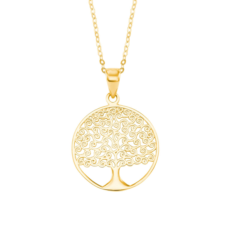 Kette mit Anhänger amor Damen-Kette 45 cm mit Anhänger Lebensbaum 375 Gold