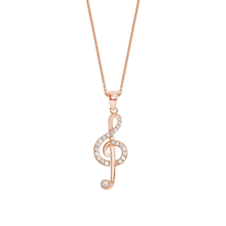 Kette mit Anhänger Silber 925, rosévergoldet Zirkonia synth. Notenschlüssel