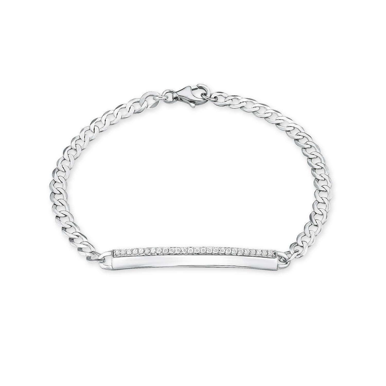 Identarmband Silber 925, rhodiniert Zirkonia synth.