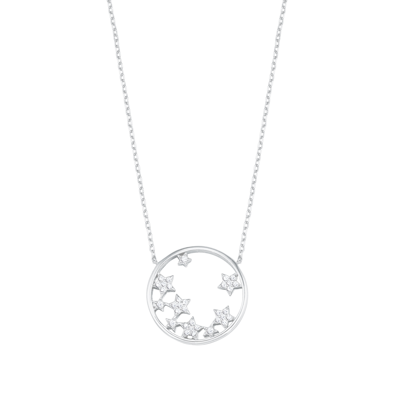 Kette mit Anhänger für Damen, Sterling Silber 925, Zirkonia Sterne