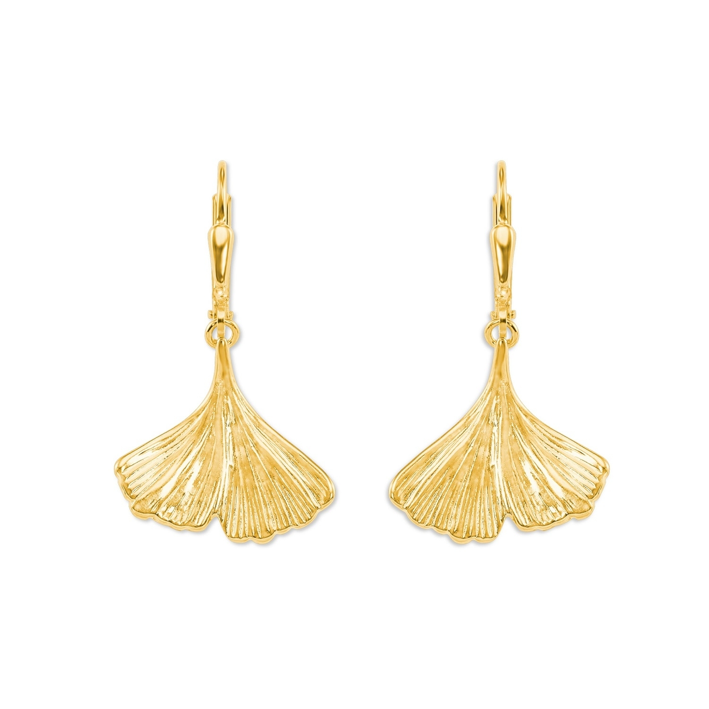 Ohrhänger für Damen, Gold 375, Ginkgoblatt
