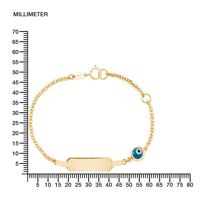 Identarmband für Kinder Unisex, Gold 375, Glas