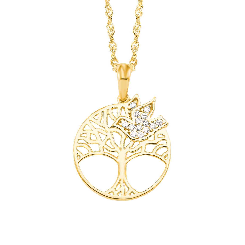 Kette mit Anhänger amor Damen-Kette mit Anhänger Lebensbaum Vogel Taube 375 Gold