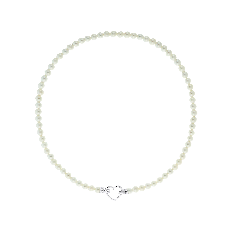 Kette mit Anhänger Choker, Sterling Silber 925, Perlen mit Herz