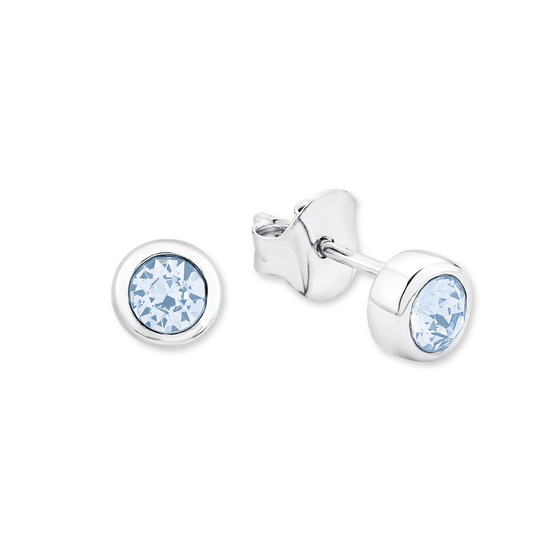 Ohrstecker für Damen 6 mm 925 Silber rhodiniert veredelt mit Swarovski Kristallen aquamarine