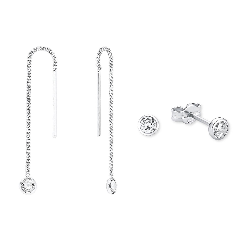 Set für Damen, Sterling Silber 925, Zirkonia