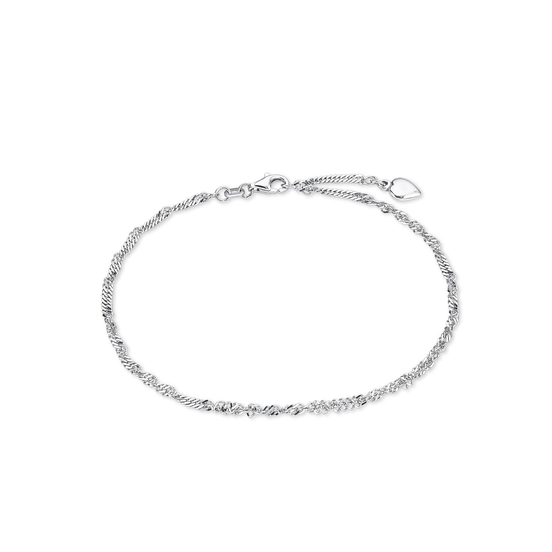 Fußkette für Damen Singapur 25 cm mit Herz-Anhänger 925 Sterling Silber