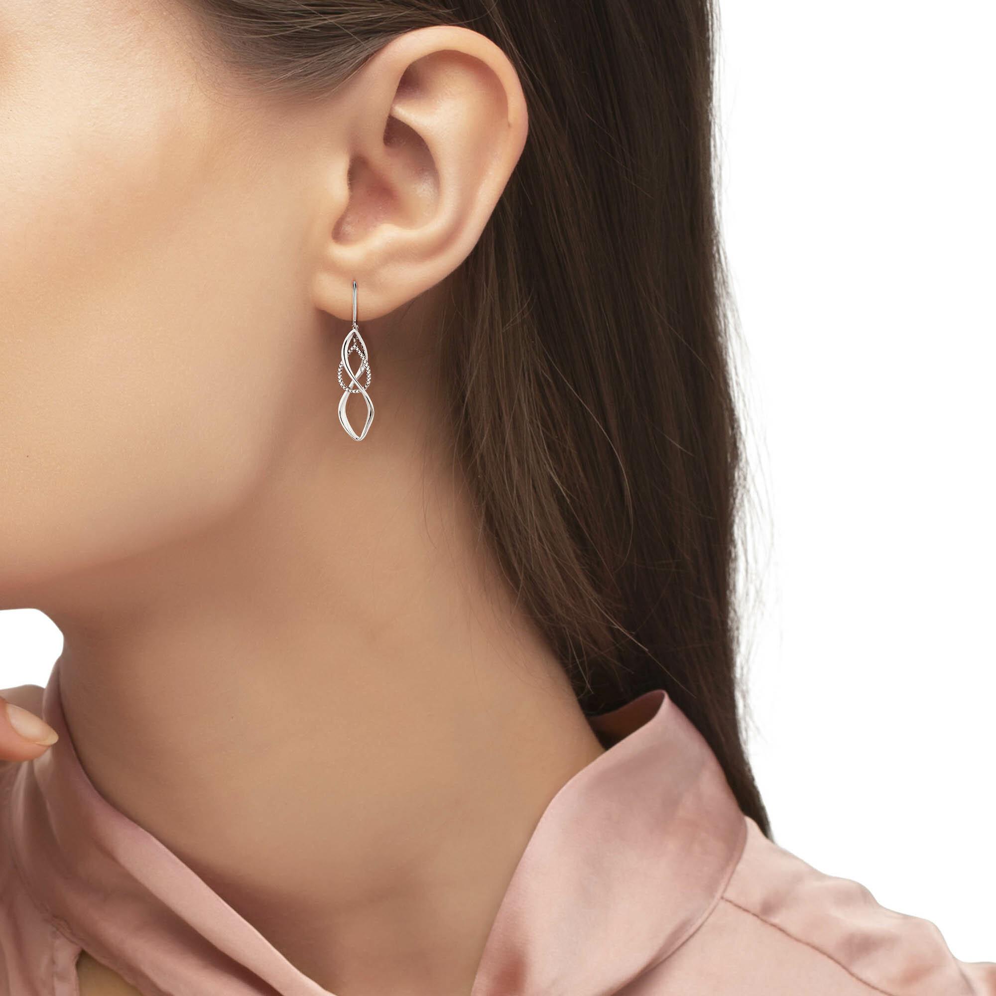 Ohrring für Damen lang, Silber 925, Zirkonia