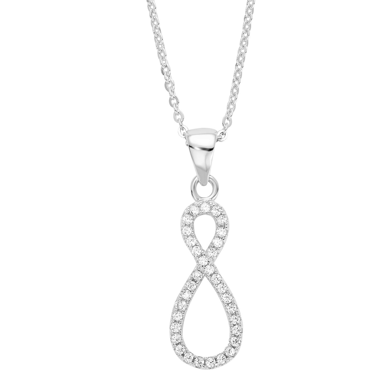 Kette mit Anhänger amor Damen-Kette 42 cm mit Anhänger Infinity 925 Silber rhodiniert Zirkonia weiß