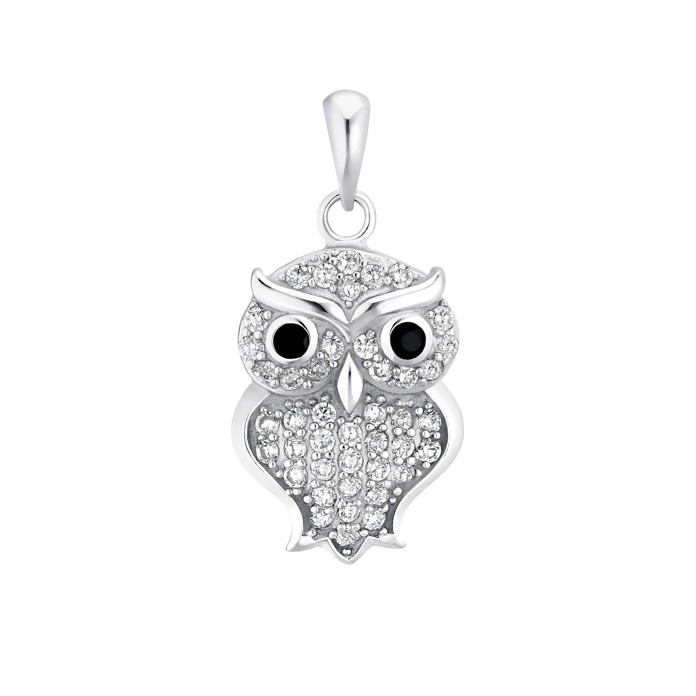 Motivanhänger für Damen, 925 Sterling Silber Zirkonia|Kristallglas  | Eule