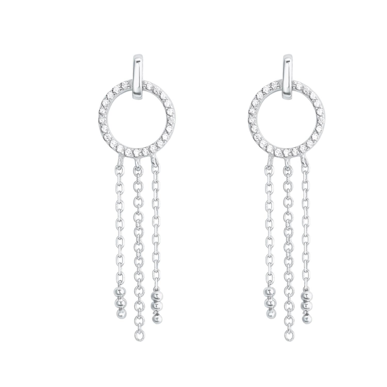 Ohrring für Damen lang, Kreis-Design, glänzendes Silber 925, Zirkonia