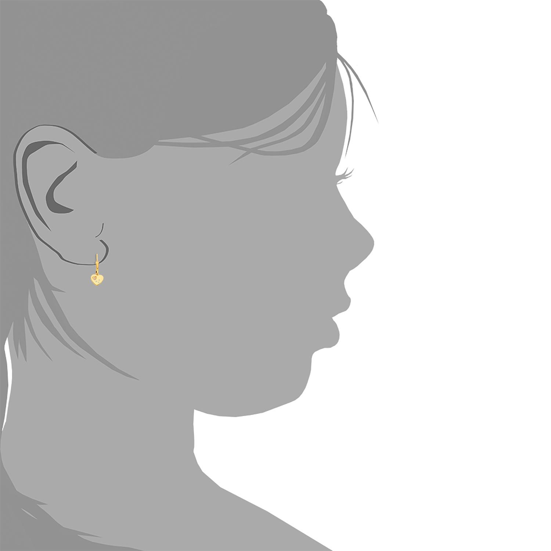 Ohrhänger für Mädchen, Sterling Silber 925, Zirkonia Herz