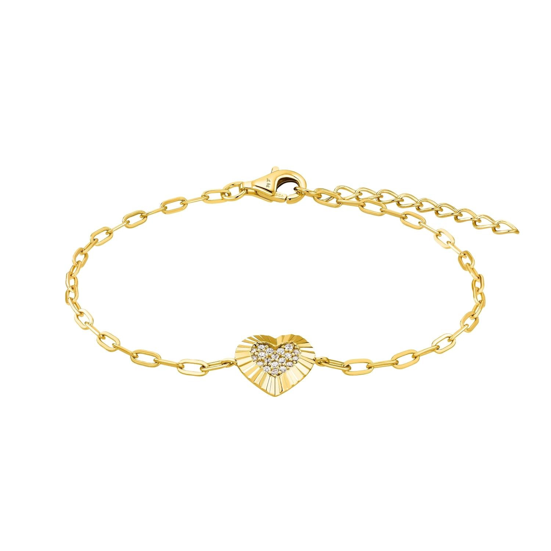 Armband für Damen, Sterling Silber 925 vergoldet, Zirkonia | Herz