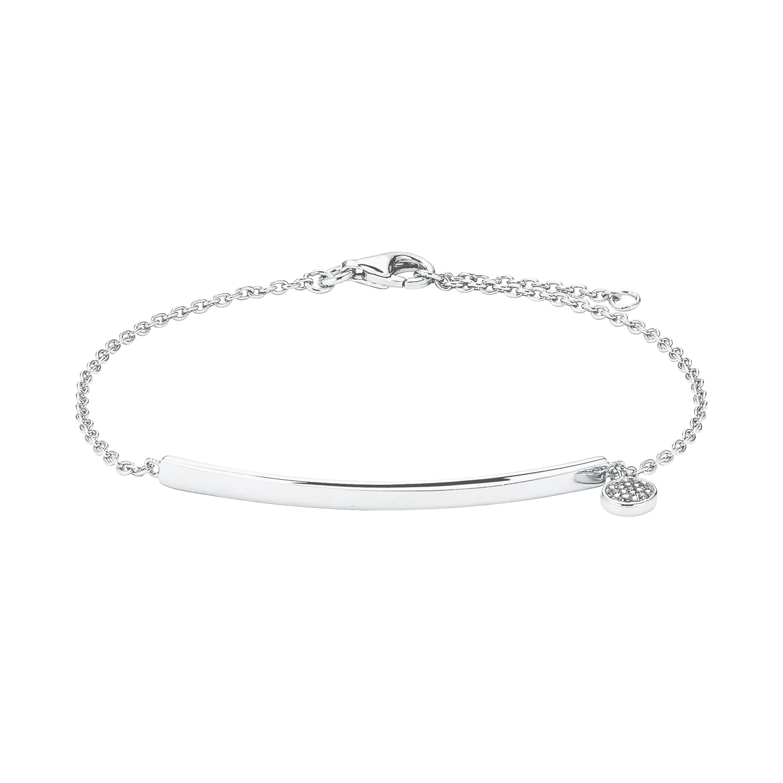 Armband für Damen mit Gravur-Anhänger, glänzendes Silber 925