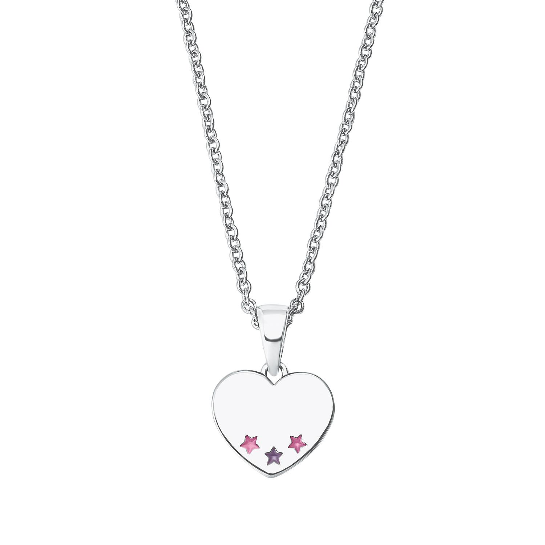 Kette mit Anhänger für Mädchen, Sterling Silber 925, Stern/Herz