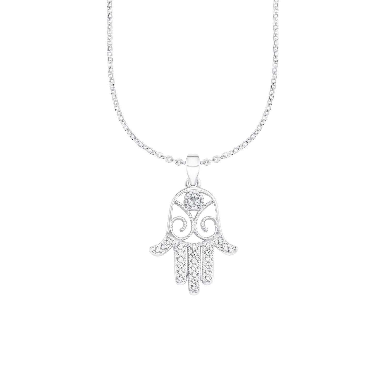 Kette mit Anhänger für Damen, Sterling Silber 925, Zirkonia Hamsa Hand