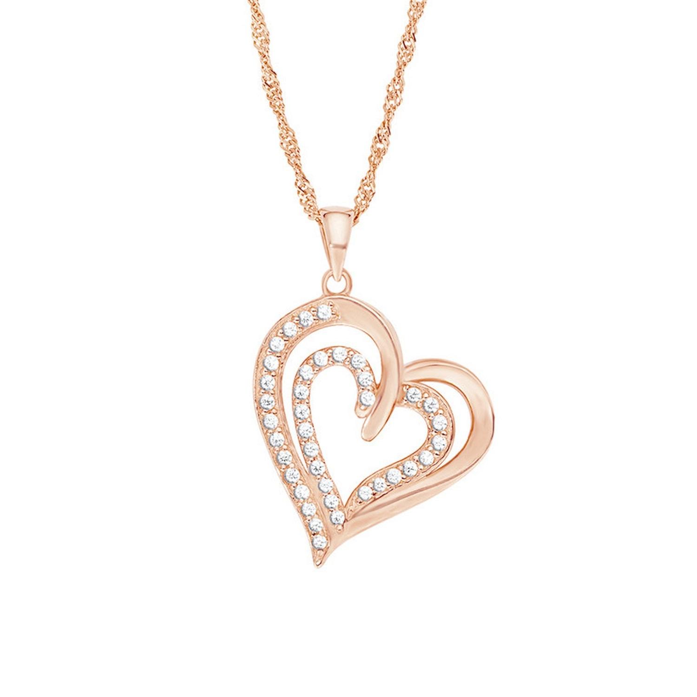 Kette mit Anhänger für Damen mit Herz-Anhänger, glänzendes Silber 925 rosévergoldet, Zirkonia