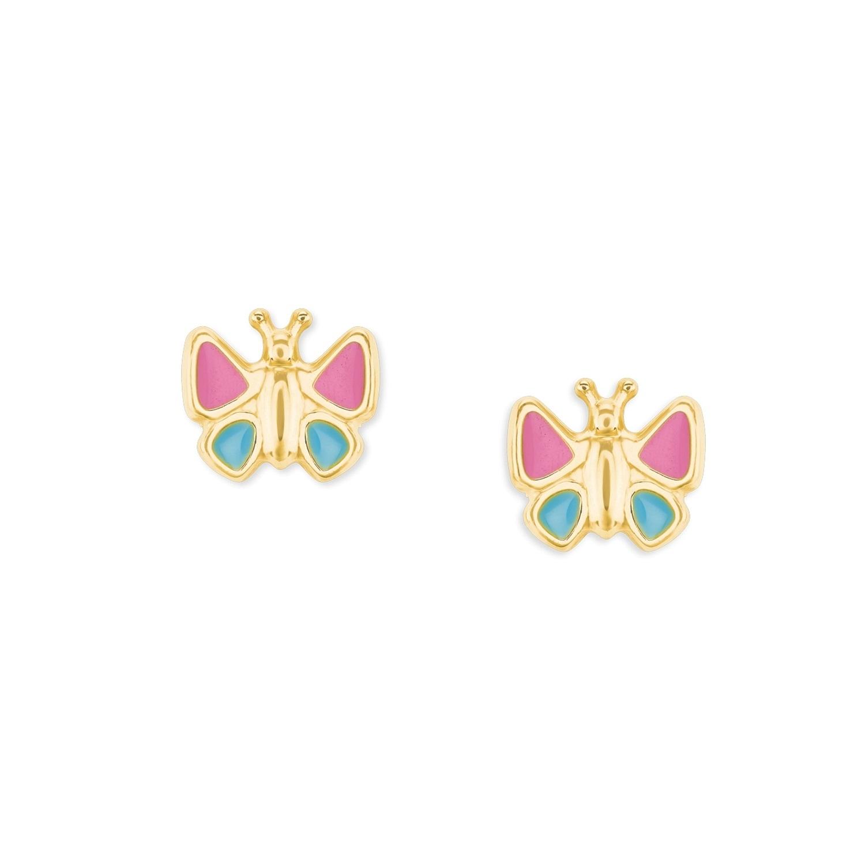Ohrstecker Gold 375/9 ct, emailliert Schmetterling
