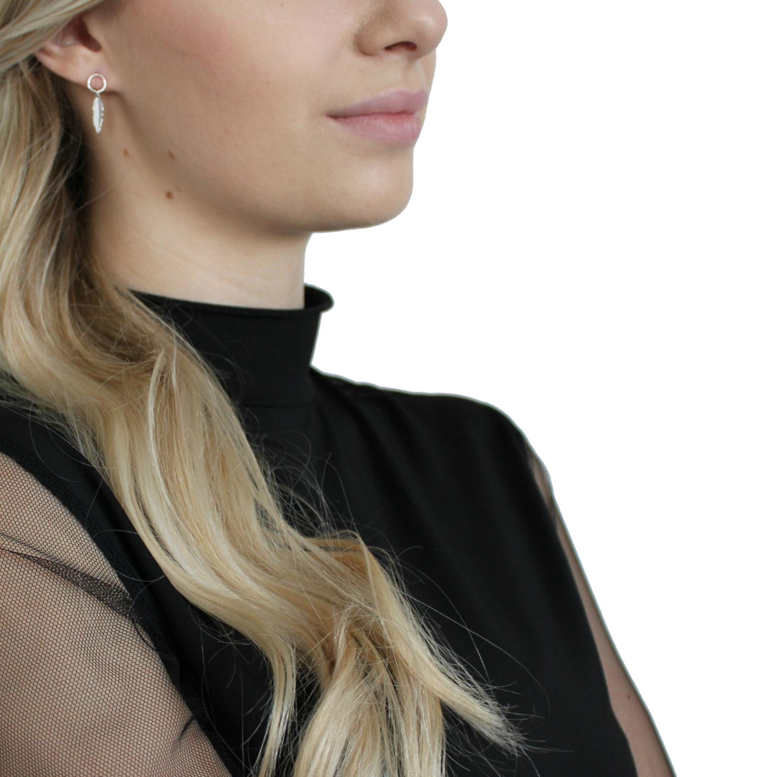 Ohrhänger Silber 925, rhodiniert Feder
