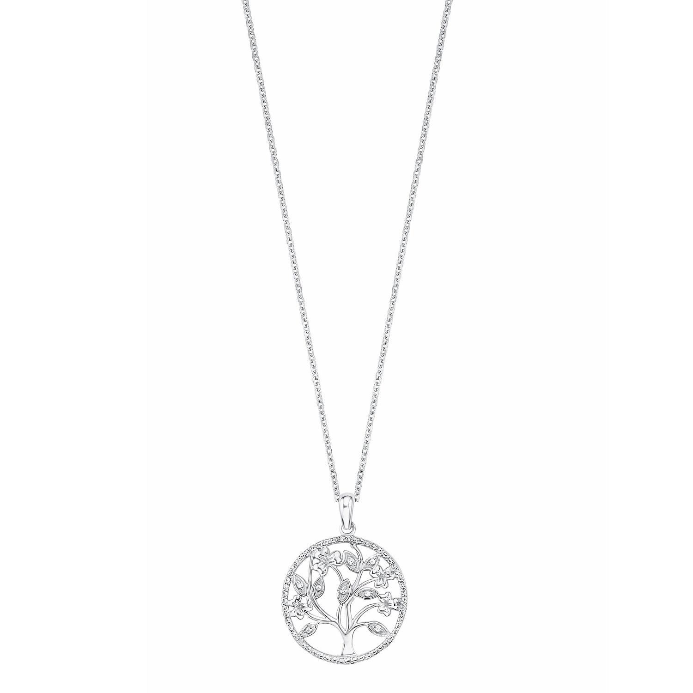 Kette mit Anhänger Silber 925, rhodiniert Zirkonia synth. Lebensbaum