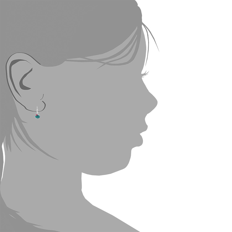 Ohrhänger für Kinder Mädchen, 925 Sterling Silber, Muschel emailliert
