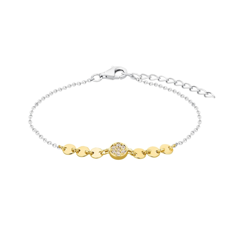 Armband für Damen, Sterling Silber 925 teilvergoldet, Zirkonia