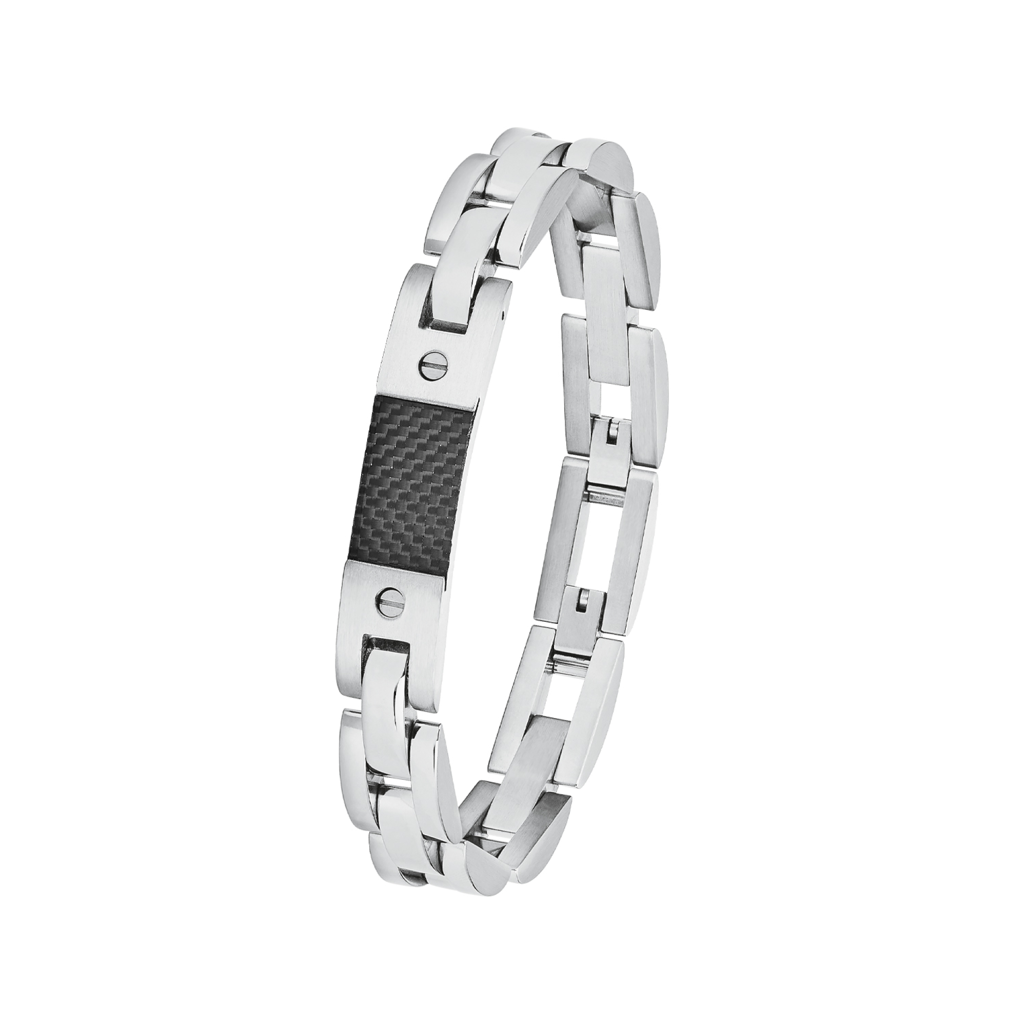 Armband für Herren, Edelstahl mit Carbon, 24 cm