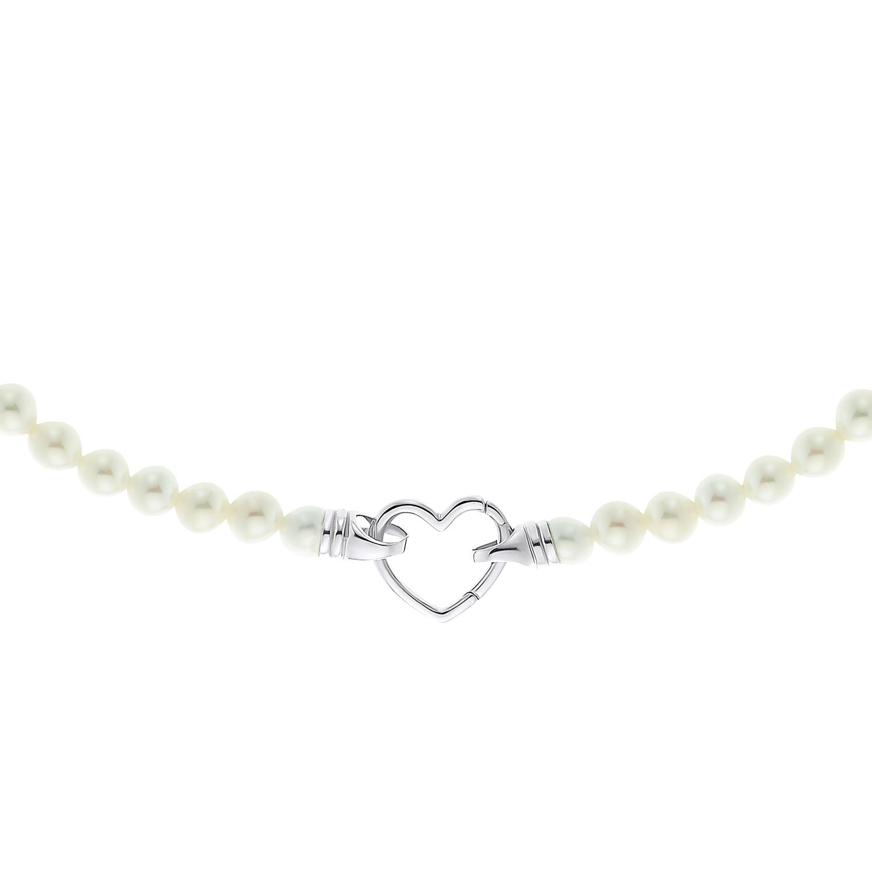 PEARL & HEART Kette mit Anhänger Unisex, Sterling Silber 925, Muschelkernperle Herz