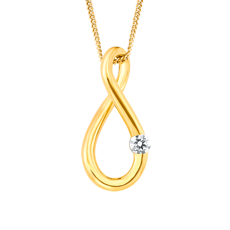 Kette mit Anhänger für Damen, Gold 375, Zirkonia Infinity