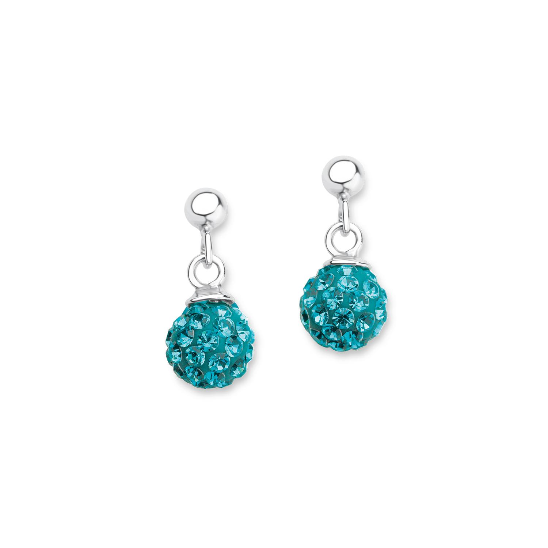 Ohrring für Mädchen, Sterling Silber 925, Kristallglas