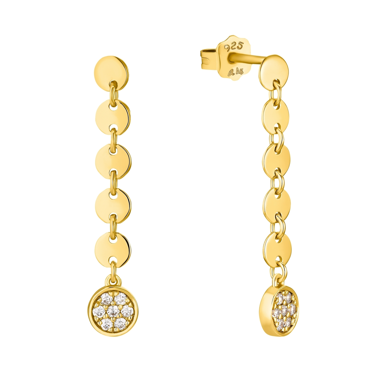 Ohrhänger für Damen, Sterling Silber 925 vergoldet, Zirkonia