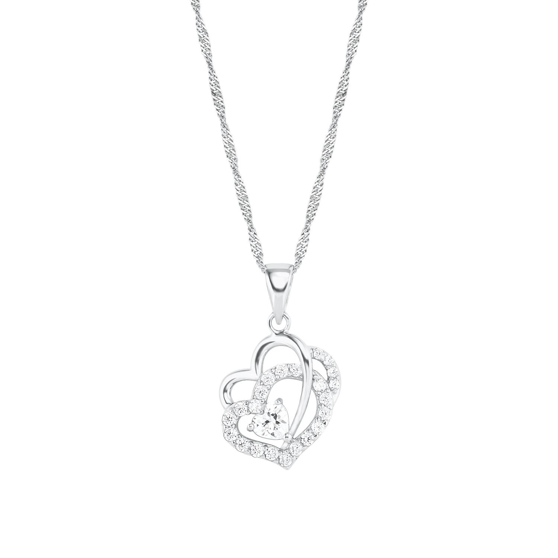 Kette mit Anhänger für Damen Herz, Silber 925